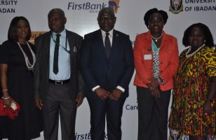 Mrs. Folake Ani-Mumuney, Group Head, Marketing & Corporate Communications, FirstBank; Prof. A. I. Olayinka, Vice Chancellor, University of Ibadan; Dr. Adesola Adeduntan, MD/CEO, FirstBank; Prof. Olanike Adeyemo, Deputy Vice Chancellor, University of Ibadan and Mrs. Rosie Ebe-Arthur, Group Head, Human Capital Management & Development, FirstBank during the University of Ibadan (UI) Graduate Recruitment/Career fair held at the University of Ibadan.
