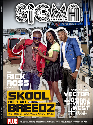 EPIC! Ice Prince, Tiwa Savage and Chiddy Bang heats up the Sigma Emperor Magazine cover.