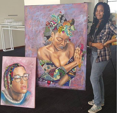 Meet The 19-Year-Old Girl Who Uses African Fabric To Create Beautiful Paintings. Photos