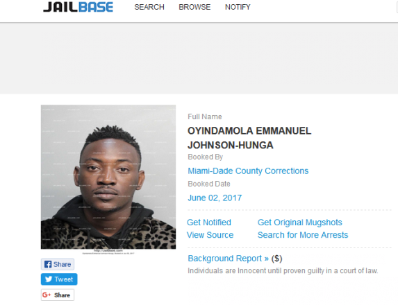 Tuface protege,Dammy Krane Tweets From US Prison