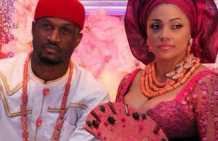 Peter Okoye and Lola Oomotayo on their wedding day