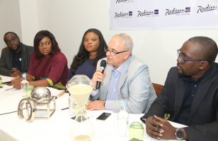 Executive Director, Avalon Intercontinental Nigeria Limited, Kazeem Tajudeen; Managing Partner,AT3 Resources, Tosin Adefeko; Director Legal, Avalon Intercontinental Nigeria Limited, Olaitan Tajudeen; General Manager, Radisson Blu Hotel Lagos Ikeja, George Balassis; and Director of Projects Avalon Intercontinental Nigeria Limited, Ahmed Tajudeen, at the press conference announcing the partnership between Radisson Blu and Avalon Intercontinental Nigeria Limited.
