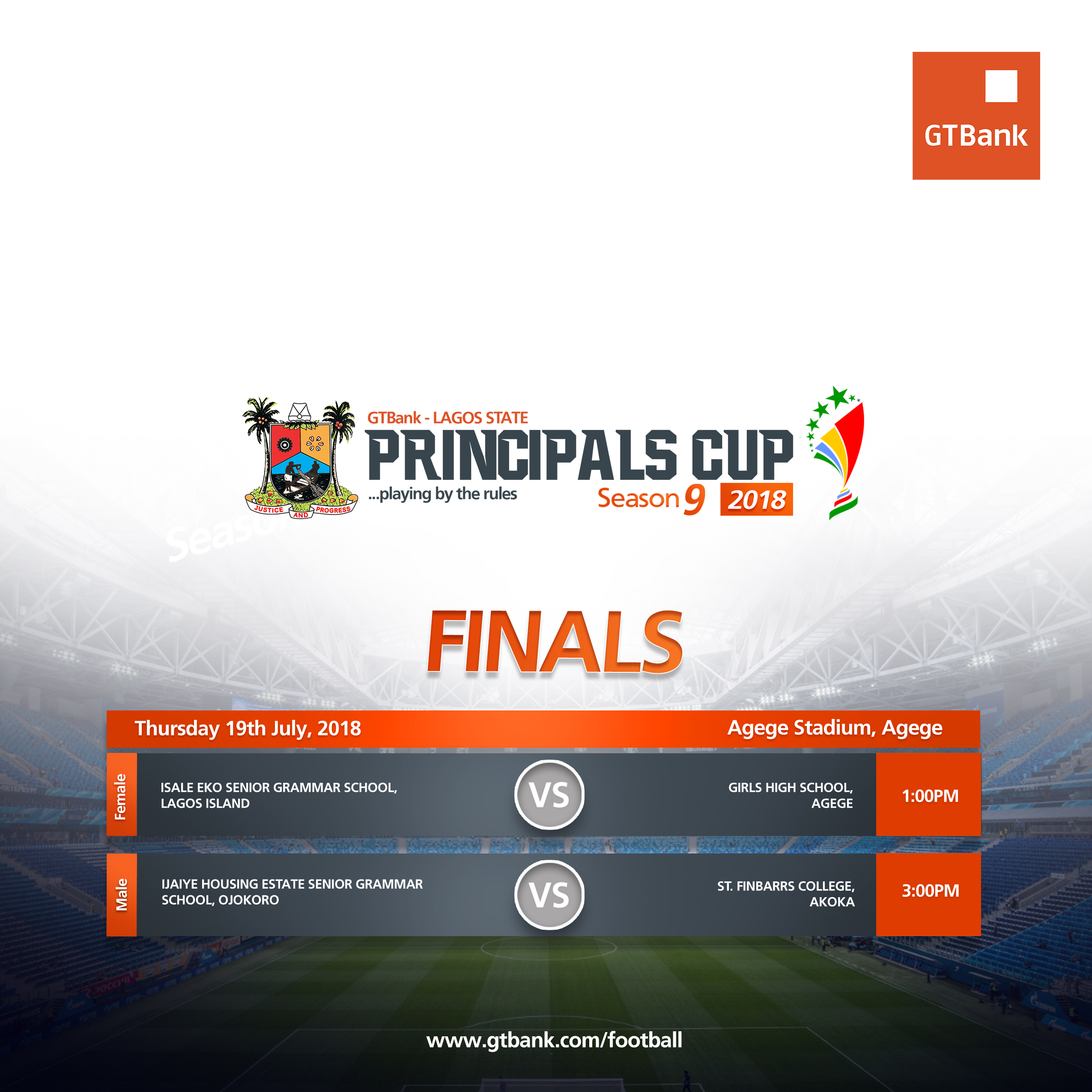 GTBank Lagos State Principals Cup Season 9 Finals holds Thursday 19th July, 2018