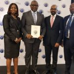 Adesola Adeduntan, MD/CEO, First Bank of Nigeria Limited & Subsidiaries (second left) flanked by FirstBank's Bashirat Odunewu, Group Executive, International Banking Group, (left); Ini Ebong, Group Executive, Treasury & Financial Institutions (second right) and Timi George, Group Head, Financial Institutions & Multilaterals (right), during the presentation of Best Bank in Nigeria 2018 award to FirstBank in the Global Finance World Best Bank Awards 2018, held on the sidelines of the World Bank/IMF Annual Meetings in Bali, Indonesia.