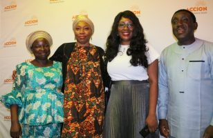 One of the beneficiaries with Habiba Balogun, Director Accion Bank,Adefisayo Akinsanya of corporate branding section and Mr Taiwo Jooda, Managing Director,Accion Bank