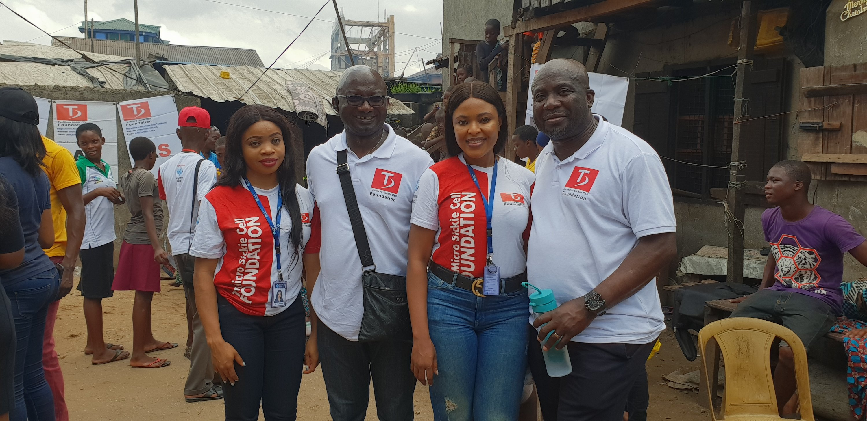 L-R: Miss Blessing Ayorinde, CSR, Keystone Bank Limited; Ismaila Olatunji Sule, Trustee/Founder, TunMicro Sickle Cell Foundation; Izore Bamawo, Head, CSR, Keystone Bank Limited and Ola Ogundemi, Trustee/Director of Communication, TunMicro Sickle Cell Foundation, at the Sickle Cell Disease awareness and free testing programme organised by TunMicro Sickle Cell Foundation in conjunction with Keystone Bank and 'Slum2School Africa' in Lagos, recently.